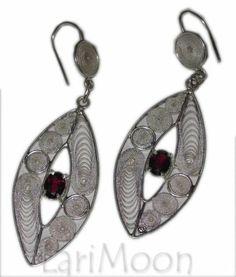 Czech Garnet Sterling Silver earrings. www.larimoon.com