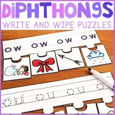 """This """"Diphthongs Write and Wipe Puzzle"""" resource can be used as a literacy center for early primary students. Just laminate and cut!   Students will practice writing each diphthongs, and then find the picture on the puzzle pieces that start with each letter. Letters up top can be easily wiped off when using a dry erase marker."""