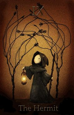 I adore this. I love the colors, the feel of the image. It invokes a wonderful feeling of Samhain; colder nights, warm hearths, otherworldly moods and feelings. Big fan. <3  |  Tarot The Hermit Mini Print -Lisa Snellings