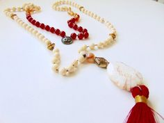 Mala necklace Synthetic Ivory carnelian and agate by LDTcreative