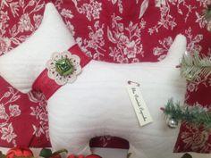 Christmas Jingle Bell Scottie Dog Pillow by ThePaintedCupcake, $28.00