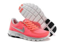 $93.98 discount to $46.99 for Nike Free 5.0 V4 Coral Silver Women\u0026#39;s Running Shoes
