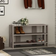 Mercury Row Every house needs a proper introduction, a nice entrance and somewhere to throw the shoes. Build A Shoe Rack, 8 Pair Shoe Rack, Cheap Shoe Rack, Shoe Racks, Organizing Your Home, Home Organization, Plastic Shoe Rack, Bench With Shoe Storage, Home Decor Styles