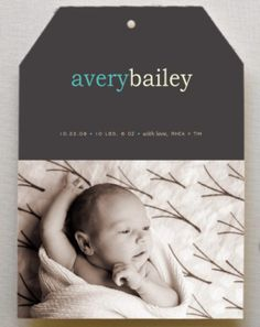 """Hang tag"" birth announcement by Kelly Hall - so great around the holidays too!"