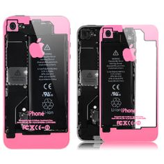 iPhone 4 / 4S Transparent Glass Back Cover - Pink