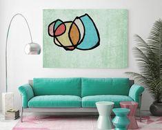 Vibrant coloré abstrait-0-35. Au milieu du siècle moderne vert toile Art Print, milieu du siècle moderne toile Art Print jusquà 72 par Irena Orlov Wall Art déco pour la maison, bureau ou hôtel SURF ART ABSTRAIT Avec des couleurs rétros et des formes géométriques formés gratuites, toutes