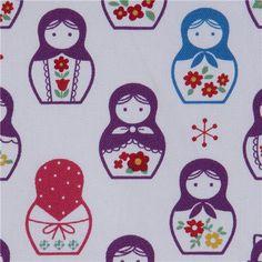 purple matryoshka dolls Kokka fabric