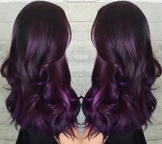 Do you want dark purple hair color? We have pictures of Amazing Dark Purple Hair Color Ideas that will inspire the purple diva in you! Long Purple Hair, Dark Purple Hair Color, Plum Hair, Ombré Hair, Ombre Hair Color, New Hair, Purple Ombre, Burgundy Hair, Dark Violet Hair