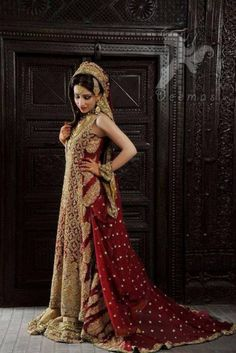 Latest Designer Wear Bridal Outfit 2016 Deep Red Heavy Back Trail Shirt and Dupatta With Light Golden Lehenga