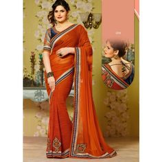 Orange Georgette #Saree With Blouse