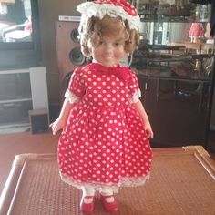 """1972 IDEAL SHIRLEY TEMPLE 16"""" DOLL Red & White Dress  #Ideal #DollswithClothingAccessories"""