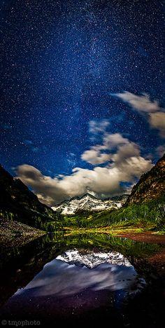 maroon bells under a full moon