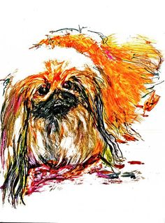Hey, I found this really awesome Etsy listing at https://www.etsy.com/listing/124740036/pekingese-reek-a-pritty-dog-watercolor