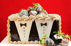 Chocolate Dipped Strawberry Tuxedo cake is a perfect combination of chocolate cake, vanilla custard, fresh strawberries with shiny ganache icing and choco..