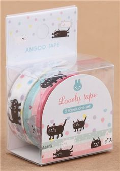 ♠ Cat, heart, dot decoration tape, 2 pcs set  from Modes out of Hong Kong. ♠ so cute.