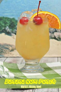Banana Rum Punch is the punch you will want to serve for all your get togethers, BBQ's! Mix a batch  and enjoy. #banana #rum #punch #cocktail #party #gettogethers #gatherings#girls #night #out