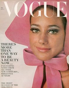 #MarisaBerenson on the cover of #Vogue in a pink silk bonnet.