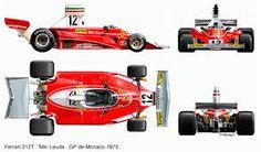 1975: Ferrari 312T Flat 12. T=Transverse Gearbox. This car won Ferrari's first world championship since 1964.