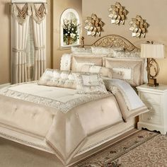 47 romantic and elegant bedroom decor ideas 43 ⋆ All About Home Decor Cheap Bedding Sets, Luxury Bedding Sets, Comforter Sets, Gold Comforter, Affordable Bedding, King Comforter, Elegant Home Decor, Elegant Homes, Bed Linen Design