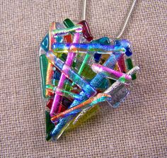 Dichroic Heart Pendant AND Brooch - Diamonds & Ice Rainbow Opal Clear Moonstone Blue Fused Glass Dichroic Glass Jewelry, Fused Glass Art, Resin Jewelry, Glass Pendants, Glass Beads, Diamond Ice, Glass Ornaments, Making Ideas, Jewelry Making