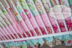 Custom Baby Crib Bedding - Kumari Gardens in Pink via Etsy.