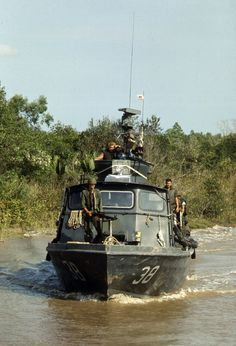 A fast patrol craft on Cai Ngay canal during the Vietnam War in 1970