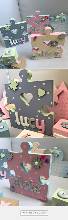 Jigsaw plaque Jigsaw nursery decor Kids name plaques Kids door plaque Kids name plaque Kids Gift for kids Wall art Jigsaw art Personalised