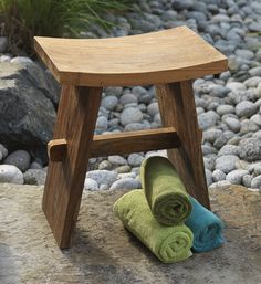 Editor Favorite: Handmade Teak Bath Stool, created from sustainable teak by fair trade artisans!