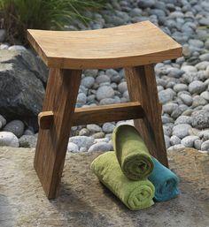 editor favorite handmade teak bath stool created from sustainable teak by fair trade artisans