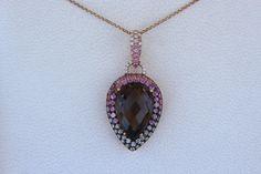 18 Carat Smoky Topaz, Pink Sapphire & Diamond Pave Necklace 14k Rose Gold, Gemstone Pendant Necklace Pear Cut Topaz, Anniversary Gift, Raven Fine Jewelers
