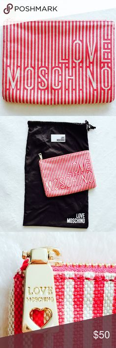 Authentic Love Moschino Cosmetic Bag Logo print fabric with gold hardware. Clean interior. Pristine condition. Dust bag included. Love Moschino Bags Cosmetic Bags & Cases