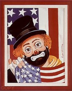 Patriotic Clown by Red Skelton Red Skelton Paintings, Spook Houses, Clown Paintings, Pierrot, Send In The Clowns, I Love America, Clowning Around, Circus Clown, Vintage Labels