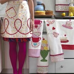 beautiful embroidered+appliqued tea towels