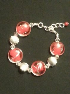 Flat button shaped red glass beads with silver by ILoveBeads247, $7.00