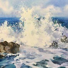 Watercolor Ocean, Watercolor Landscape Paintings, Seascape Paintings, Sea Pictures, Watercolor Pictures, Guache, Watercolor Techniques, Watercolor Illustration, Sea Waves