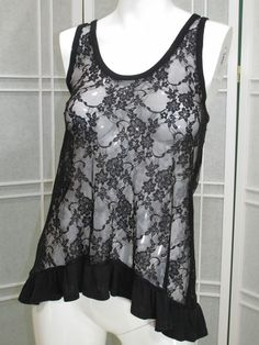 Anthropologie Floral Lace Sheer Ruffle Swing Tank Top Black Size S Exc. #Anthropologie #TankKnitTop #Casual
