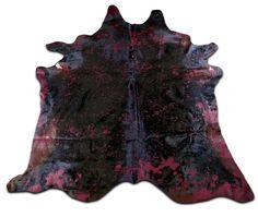 G-816 Dyed Red Cowhide Rug Red Acid Wash on Black by Cowhidesusa