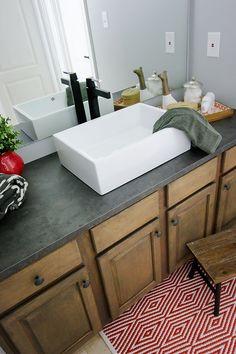Ikea laminate countertop-concrete look-alike (@ Bower Power Blog)