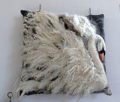 Wet felt/needle felt swan pillow cushion cover                                                                                                                                                                                 More