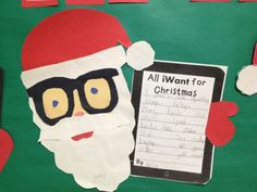 Tech the Halls!  Craft and writing bulletin board for making a list at Christmas!