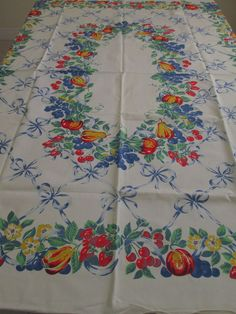 "VINTAGE TABLECLOTH FRUIT RIBBONS BOWS Grapes Cherries Berries 52""x68""  Not Faded  