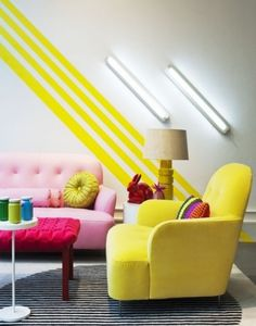 Use bright painter's tape to achieve this bold line effect.