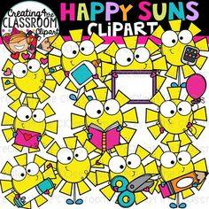 Happy Suns Clipart {Sun Clipart} Vibrant and Whimsical Happy Sun Clipart is packed with vibrant images- perfect for adding a little sunshine to your resources! There are a total of 44 images provided (22 in color and 22 in bw). #creating4theclassroom #backtoschool #tpt #classroom