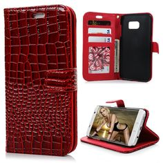 S7 Edge Case,Samsung Galaxy S7 Edge Case - Fancy Crocodile Pattern Premuim PU Leather Wallet Case with Snug Fit Hard PC Inner Cover Magnetic Clip ID/Credit Card Holders by Badalink - Red ** To view further for this item, visit the image link.