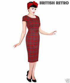 British Retro 40s 50s Tartan Vintage Pencil Wiggle Dress *Rockabilly Pin Up* | eBay