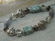 Puffed Heart Stretch Bracelet with Turquoise by SeagrassJewelry, $20.00