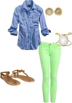Lime Green skinny jeans & Chambray top