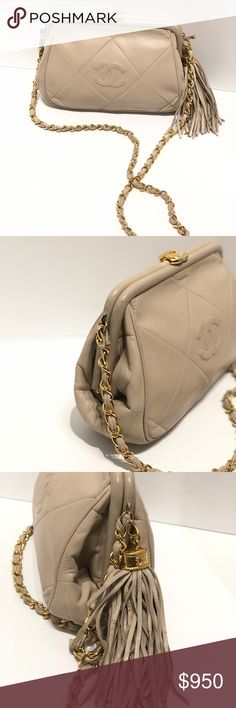 Authentic Chanel Beige Tassel Chain Crossbody Chanel Beige Bag with details that feature a tassel with CC gold hardware on it.  Has CC at the opening area, and a chain strap.  Great bag to wear during the day or evening.  Has some wear on chain strap, and top exterior.  Please look at pics for details.  We ship within 1 business day.  All our items are authenticated before they are put online or in store.  Serendipity has been in business for 23 years selling high end bags and accessories…