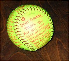 """""""Thank you for teaching me the game."""" Give it to your parent(s) on Senior Night.**I would seriously cry my eyes out if angelina ever did something like this! I sure do love my ball player!**"""