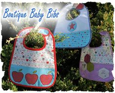 Tutorial: Boutique Baby Bibs - Here is a set of Baby Bibs - each featuring a different applique design, and all made from fun Japanese Kokka and Minny Muu prints. They are made with an inner flannel layer for extra absorbency and a velcro closure for easy removal.